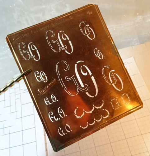 "GO G O monogram initials letter stencil embroidery antique 5"" LARGE copper metal"