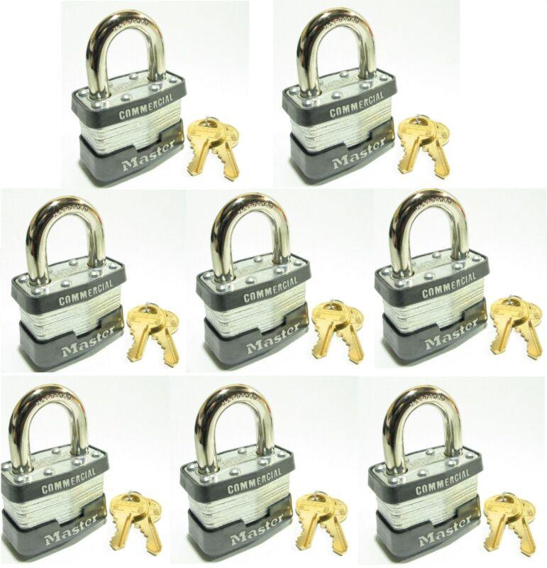 Lock Set by Master 1KA (8 Pack) KEYED ALIKE Identical Same Laminated Padlocks