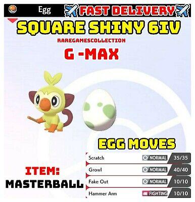 Pokemon Sword & Shield ✨SHINY✨ GMAX GROOKEY EGG 6IV JOLLY FAST DELIVERY