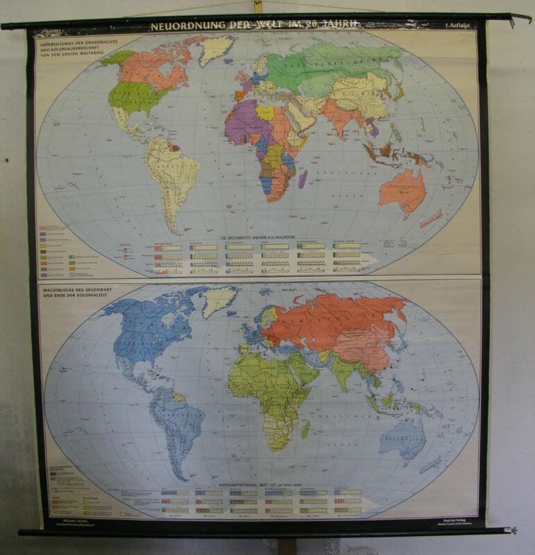 Schulwandkarte Old World Map 20.Jahrhundert 174x192 Vintage ~ 1957 Gut