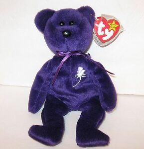 1997 Princess Diana Beanie Baby Bear Tag Space /No Number, Mint For Charity