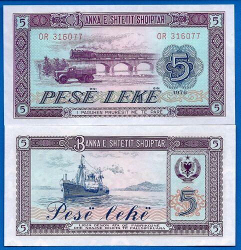 Albania P-42 5 Leke Year 1976 Train a/Uncirculated Banknote