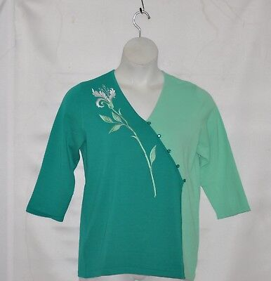 Bob Mackie Flower Embroidered V-Neck Sweater Size M Green