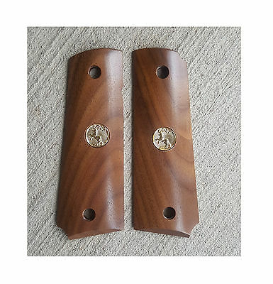 AJAX Grips for 1911 Full Size American Walnut AMBI Cut with Gold Colt Medallion
