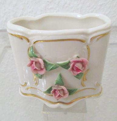 ***DRESDEN***  Kleiner Porzellan Behälter mit Blüten