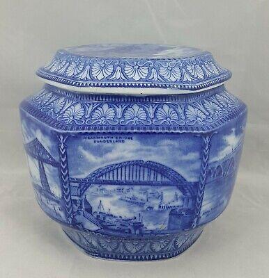 Maling Ware Blue Tea Caddy Jar - Damaged Lid