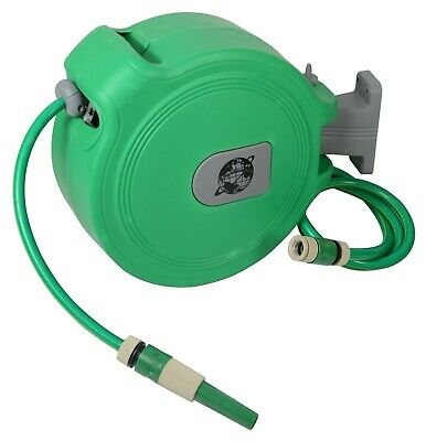 Auto Retractable Water Hose Wall Mounted Hose Reel 20M Garden Watering Hosepipe
