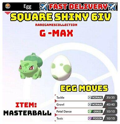 Pokemon Sword & Shield ✨SHINY✨ GMAX BULBASAUR EGG 6IV TIMID FAST DELIVERY