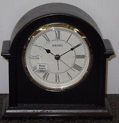 SEIKO BEDSIDE ALARM CLOCK (WOOD IN BLACK) ALARM CLOCK WITH BEEP ALARM QXE050KLH