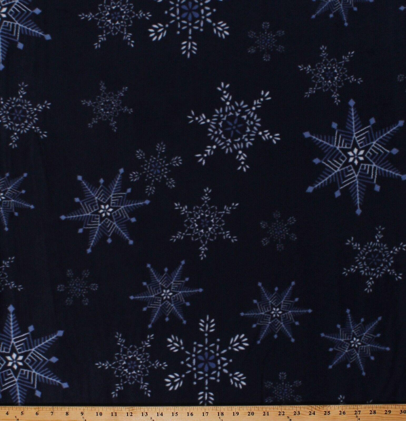 Fleece Snowflakes on Navy Blue Christmas Winter Fleece Fabri