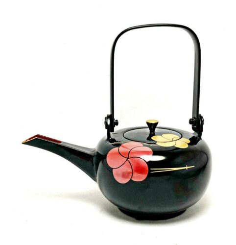 Japanese SAKE KETTLE MAKIE Pot Choshi Wooden Lacquer ware Floral pattern W/Box