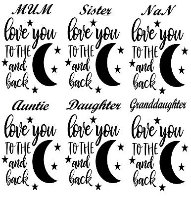Wine Bottle Stickers Decal Vinyl Love You To The Moon And Back Glass Craft Art -