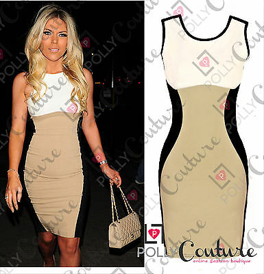 Womens Bodycon Contrast Optical Illusion UK Cocktail Evening Ladies Pencil Dress