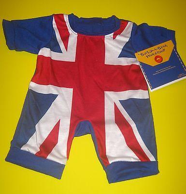 BUILD-A-BEAR UNION JACK FLAG Sleeper PAJAMAS GREAT BRITAIN OUTFIT UK ENGLAND