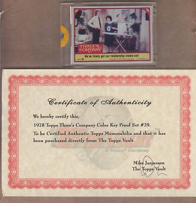 Topps Vault 1978 Threes Company Color Key Proof Set  29 Hit 1970S Tv Show Card