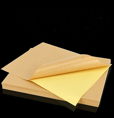25 X A4 Kraft Label Sticker Paper Brown Self Adhesive For Laser Inkjet Printer