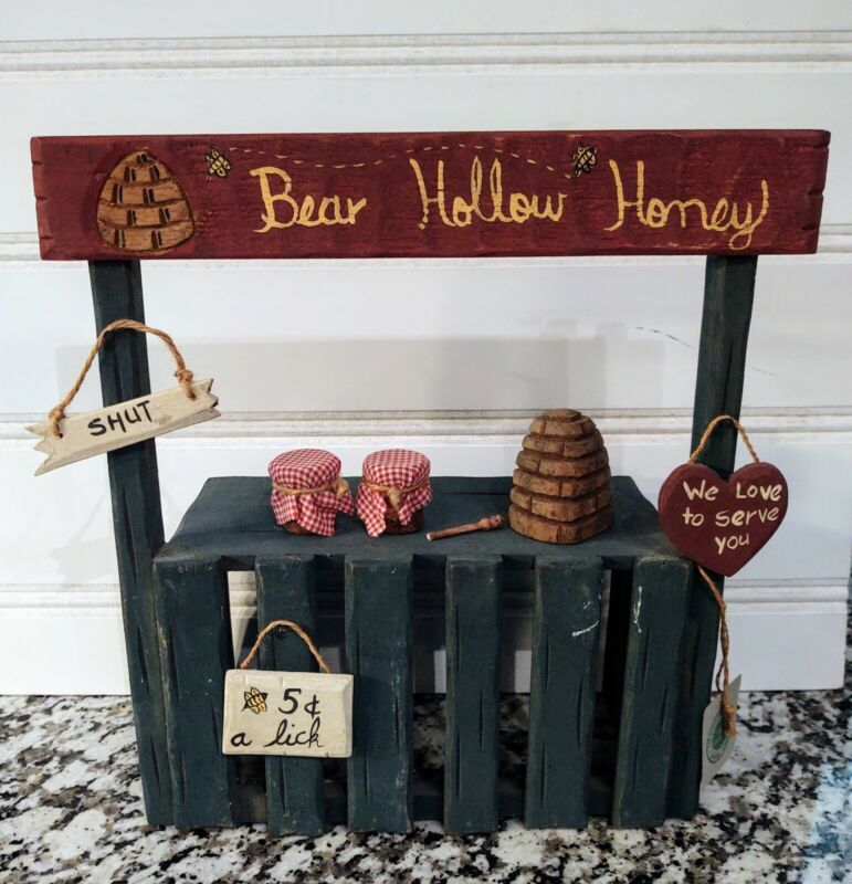 Boyds Bears Carvers Choice Bear Hollow Honey Wooden Stand Accessories