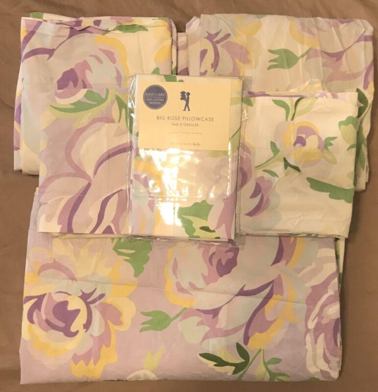 Pottery Barn Kids Big Rose Lavender Reversible Twin Duvet Sheet Pillowcases Set