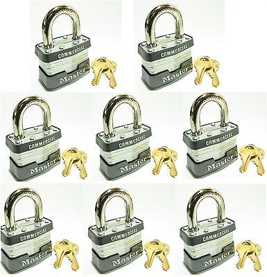 Lock Set By Master 3ka Lot 8 Keyed Alike Commercial Steel Laminated Padlocks