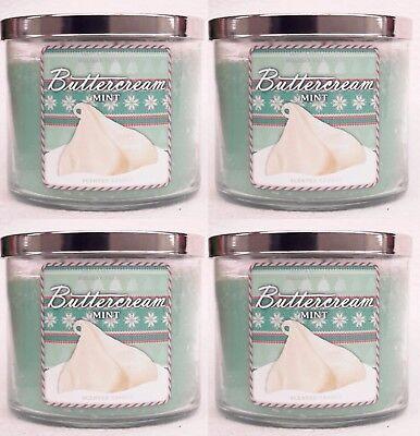 4 Bath & Body Works Buttercream Mint 3-Wick Candle 14.5