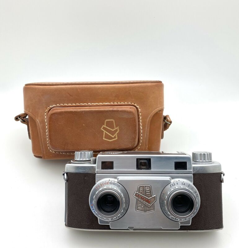 Vintage Revere Stereo 33 Camera, 35mm 3.5 Dual Lens W/ Original Leather Case!