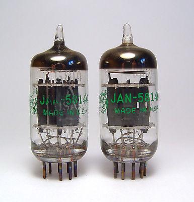2x GE 5814 / 5814  / E82CC Audio-Röhre, MIL Spec ECC82 Preamplifier Tubes