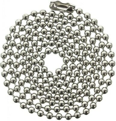 5 Pack 24in Long Ball Chain Stainless Steel Metal Dog Tag Ne