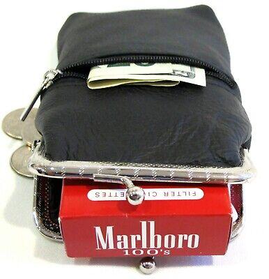 Lady's Pure Leather Cigarette Case Lighter Match Pocket Zipper Coin Pouch- BLACK