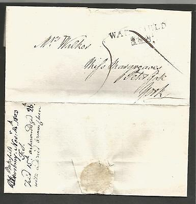 1803 Wakefield mileage mark 184 boxed on folded entire to York