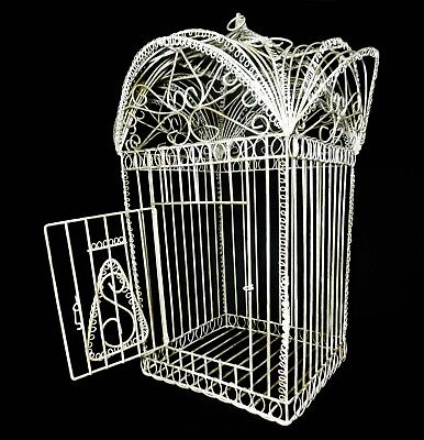 VICTORIAN ANTIQUE DECORATIVE WIRE LARGE BIRD CAGE PAINTED WHITE, W/HINGED DOOR