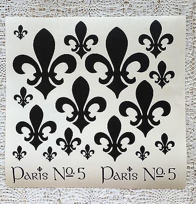 Französisch Esszimmer-möbel (Shabby Chic Wasserf.Aufkleber Möbeltattoo Französische Lilien Tisch,Vintage weiß)