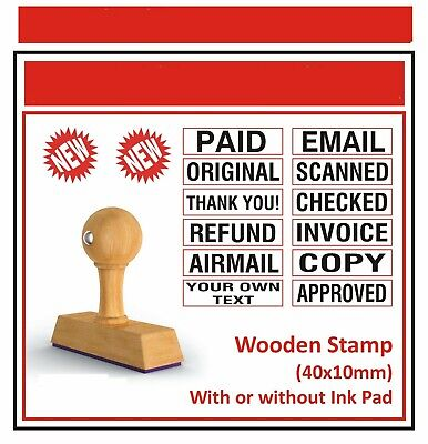 Wooden Custom Rubber 5 Lot Stamps Ink Pad Noself Inking Text Line Office 5 Set