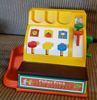 Vintage 1974 Fisher Price Cash Register -  Drawer Crank And Bell Work, No Coins
