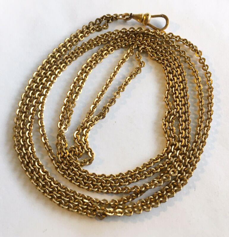 "Antique Gold Filled Watch/Locket Chain 48"""