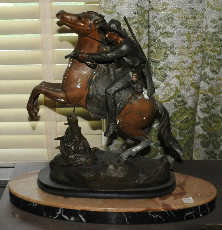 Antique Cowboy Gunfight/ Early Settler on Horse Statue w/ Gorgeous Marble Base
