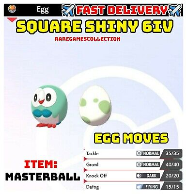 Pokemon Sword & Shield ✨SHINY✨ ROWLET EGG 6IV TIMID FAST DELIVERY