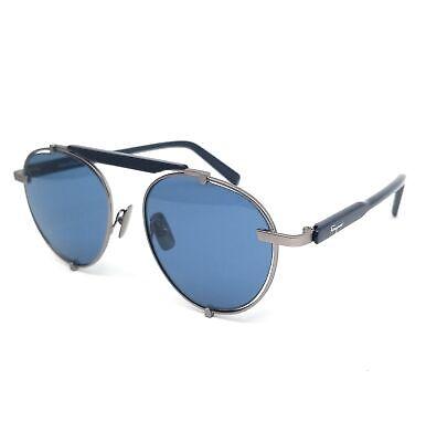 Salvatore Ferragamo Sunglasses SF197S 033 Matte Dark Gunmetal Oval Men 52x17x140
