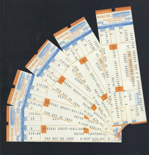 VINTAGE 1980 KENNY ROGERS FULL CONCERT TICKETS 10/5/80 @ THE FORUM - LOT OF 5