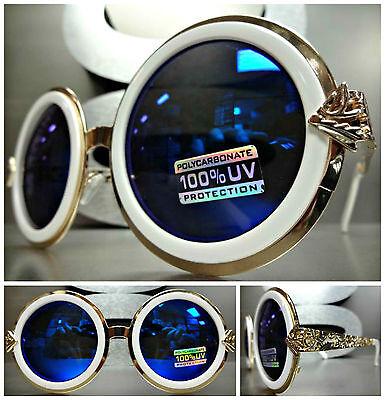 Übergröße Klassischer Retro-Stil Sonnenbrille Rund Weiß Goldrahmen