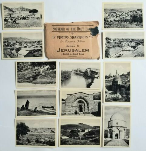 Vintage 12 Photos Jerusalem Holy Land Souvenir Israel Jericho Dead Sea SP25
