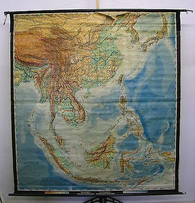 Schulwandkarte Kaffee Indonesien Vietnam Thailand Korea Borneo Java 1955 195x208 (Karte Indonesien)