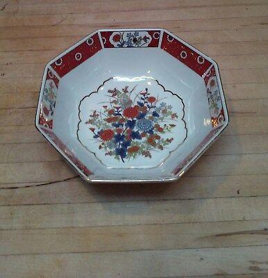 "Imari Japan Porcelain Center Piece Bowl 9"" Blue White Rust Gold Green8 sided"