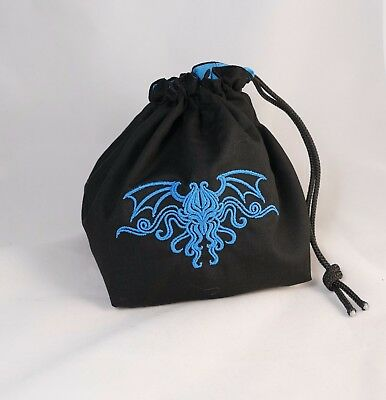 Cthulhu Dice Bag - Square Base Blue - Reversible Drawstring Tile Pouch RPG D&D