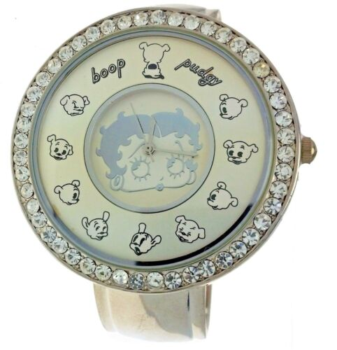 New Old Stock Pudgy & Betty Boop Cuff Bangle Band Large Round Rhinestone Watch