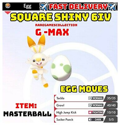 Pokemon Sword & Shield ✨SHINY✨ GMAX SCORBUNNY EGG 6IV JOLLY FAST DELIVERY