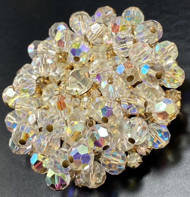 "D&E JULIANA Vintage Brooch Pin Large 2.5"" AB Dangle Beads Crystal Rhinestones"