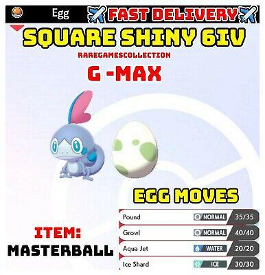 Pokemon Sword & Shield ✨SHINY✨ GMAX SOBBLE EGG 6IV TIMID FAST DELIVERY