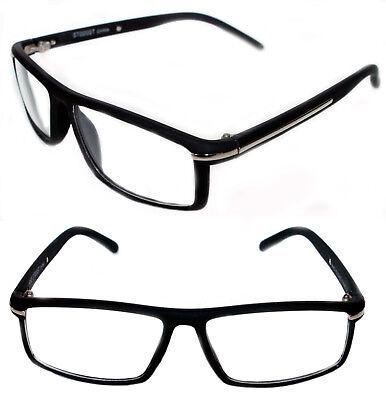 Men's Designer small Eye Glasses matte rubberized Black Silver Graphic (Graphic Designer Glasses)