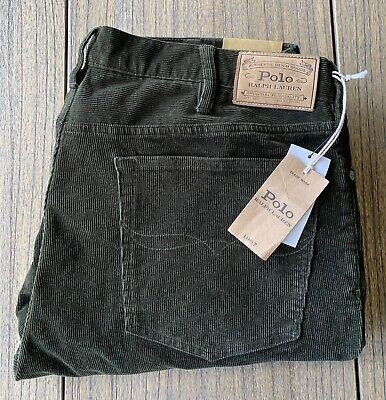 Polo Ralph Lauren Men's Varick Slim Straight Green Corduroy Pants Sz 38x32 NWT