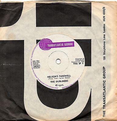 THE DUBLINERS nelson's farewell*the foggy dew 1966 UK TRANSATLANTIC 45